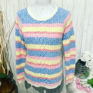 Talbots striped Cable Knit Sweater Size Medium